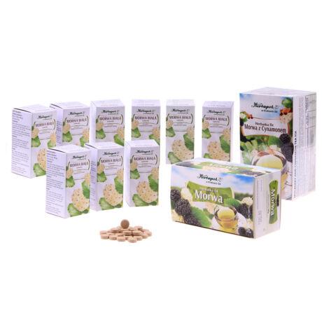 """""""AAA PRÉMIUM"""" CSOMAG (9 doboz fehér eperfa tabletta, 270 db) + AJÁNDÉK 2 doboz tea (2*20 db filter)"""
